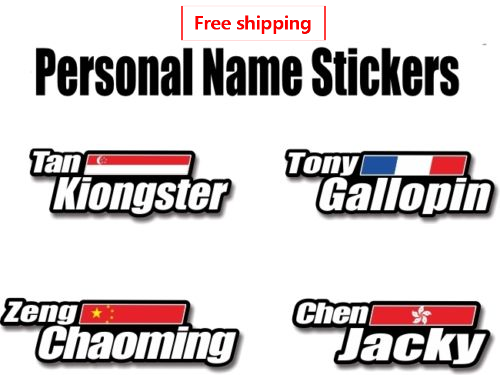 Bike Frame Stickers Custom Flag Name Bicycle Decals Free Shipping Cycling Accessories Road Mtb Helmet Decoration Bike Stickers