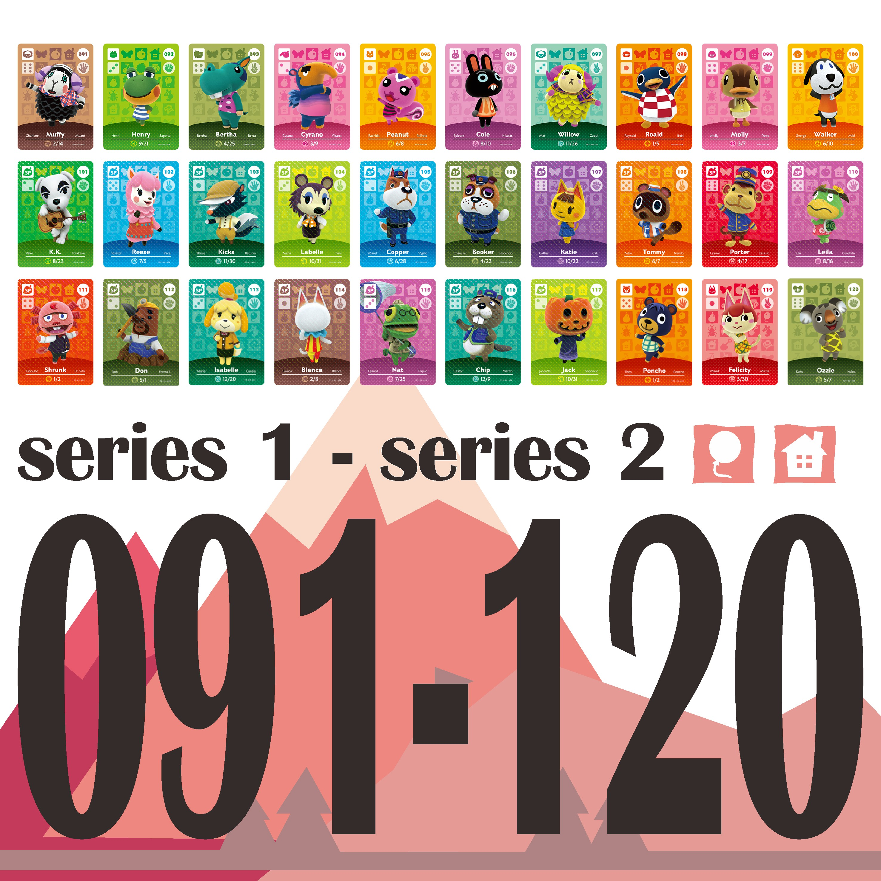 Animal Crossing Card Amiibo Card Work for NS Games Amibo Switch Welcome Stickers  NFC Series 1& Series 2 (091 to 120) 1