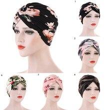 Foulard turban musulman imprimé Floral pour femmes, hijab intérieur islamique, casquettes, écharpe de tête arabe, turban arabe chaud