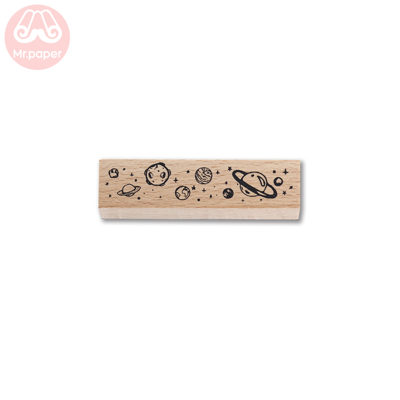 Mr Paper 12 Designs Planet Moon Flowers Number Piano Wooden Rubber Stamp for Scrapbooking DecoDIY Craft Standard Wooden Stamps 6