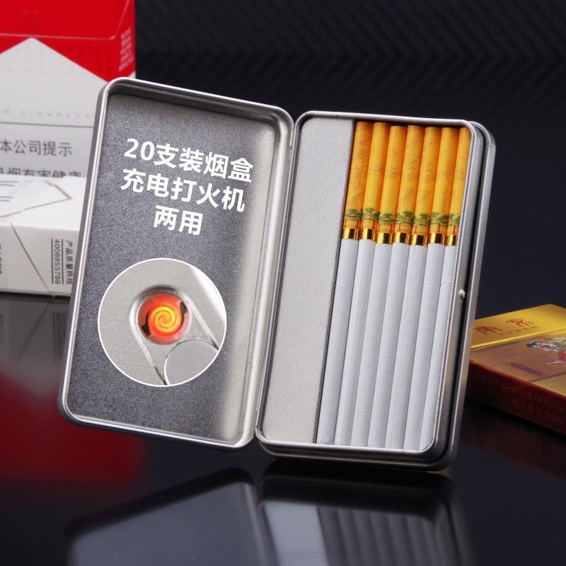 Men's Cigarette Box With Lighter Smoking Cigarette Case Creative USB Charging Cigarette Lighter For Women's Slim Cigarettes