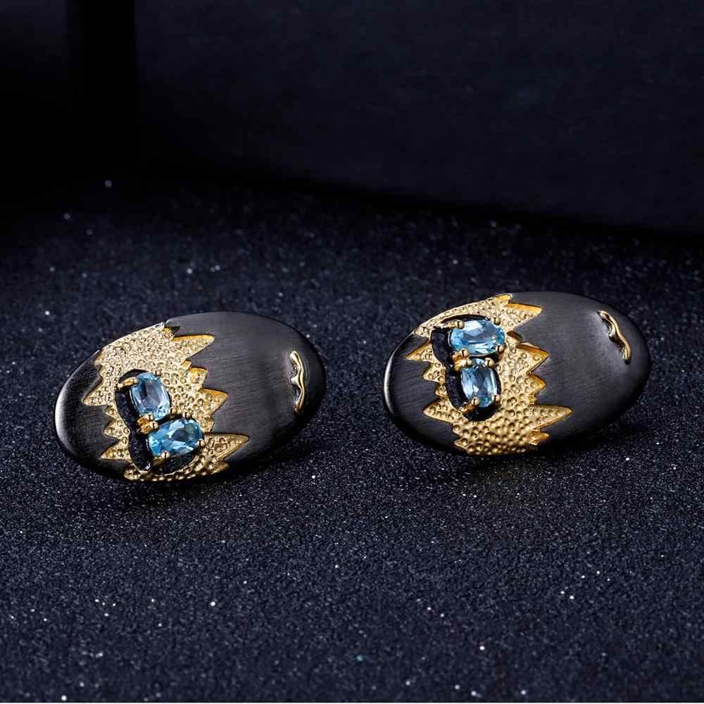 GEM'S bale 1.03Ct doğal İsviçre mavi Topaz küpe kadınlar için 925 ayar gümüş el yapımı mağara hazine saplama küpe