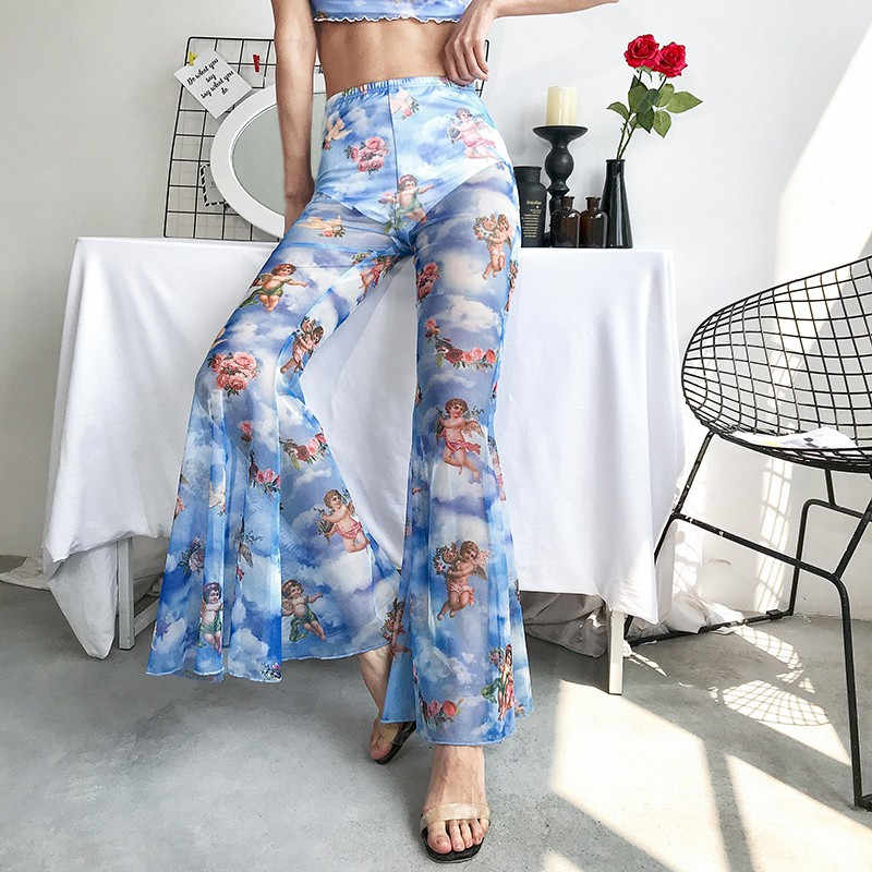 Pantalones Mujer Moda 2019 Plus Größe Sexy Transparent Bell-Bottom-Hose Hohe Taille Engel Druck Pantalon Femme Floral 5 #5