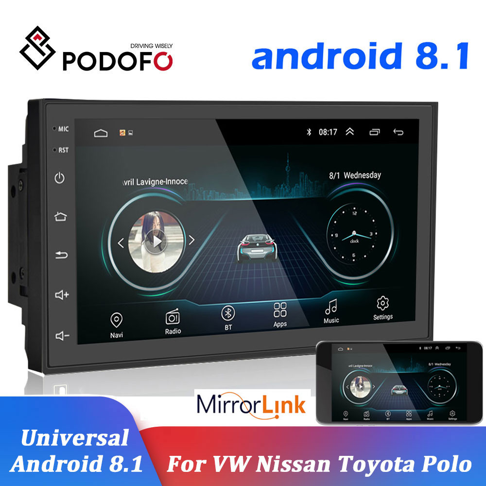 Podofo 2 Din Android 8.1 Car Radio GPS Multimedia Player 2din Universal Autoradio For Volkswagen Nissan Hyundai Toyota CR-V KIA