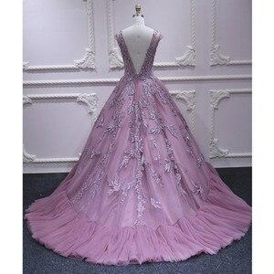Image 2 - Vestidos de Fiesta formales largos de princesa rosa con Apliques de encaje de tul con cuello en V vestido de noche elegante vestido de fiesta de compromiso