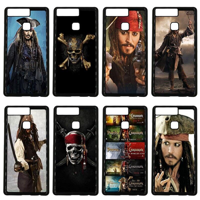 Pirates des caraïbes Johnny Depp coque noire coque rigide pour Huawei P10 P9 Plus P8 Lite P7 Mate 10 9 8 7 étuis pour téléphone Pro Lite