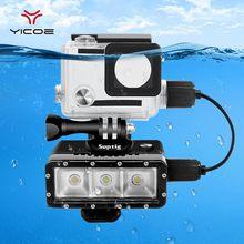 الذهاب برو اكسسوارات ل Gopro بطل 4/3 +/3 الغوص تحت الماء إضاءة LED مقاومة للماء الإسكان غطاء كابل تهمة