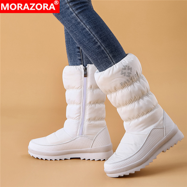 MORAZORA ビッグサイズ 36 41 新ウォーム雪のブーツの女性ジッパープラットフォームブーツ無地防水ミッドカーフ厚い毛皮の冬のブーツ