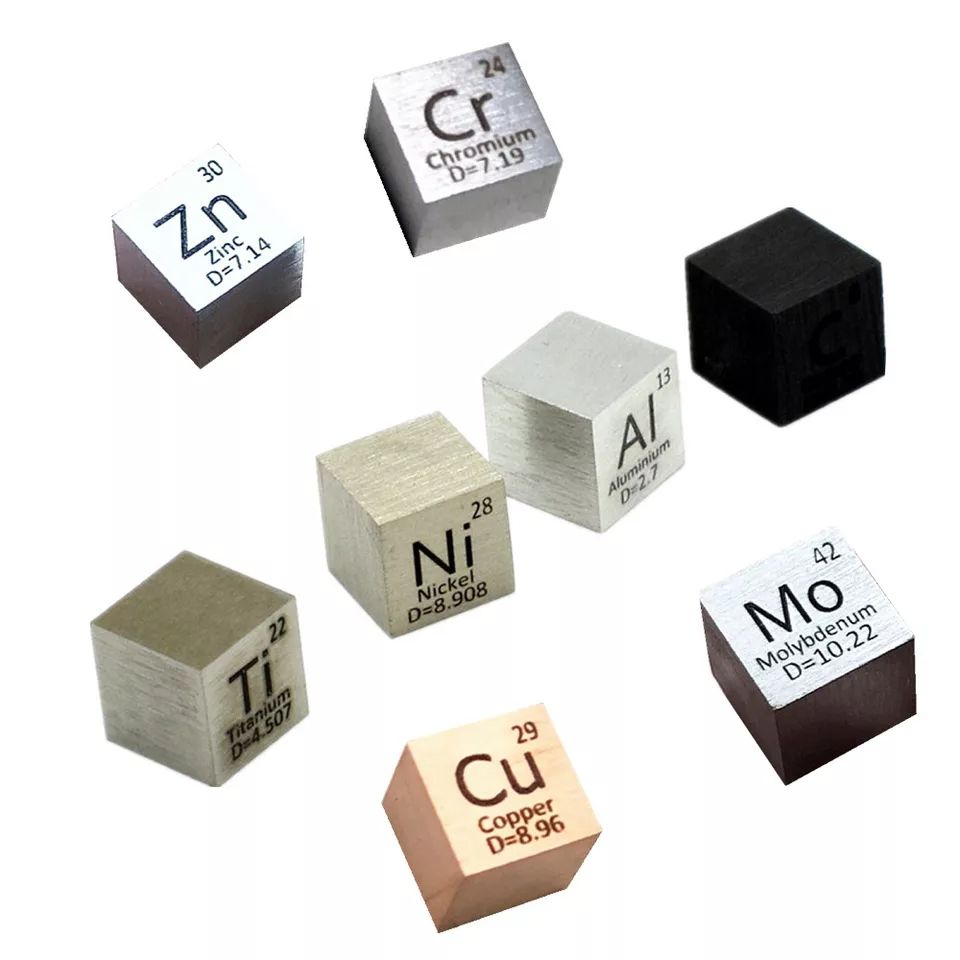 Element Cube Set 10mm Metal Density Cubes For Daily Metals