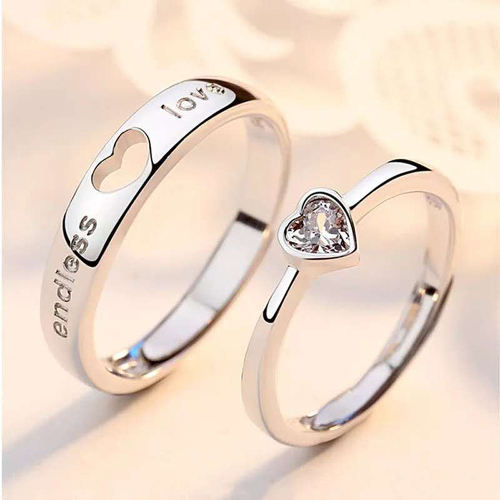 2pcs/Set Adjustable heart-shaped letter Silver plated Cubic Zirconia Crystal Love Couple Ring Men Women Romantic Wedding Ring