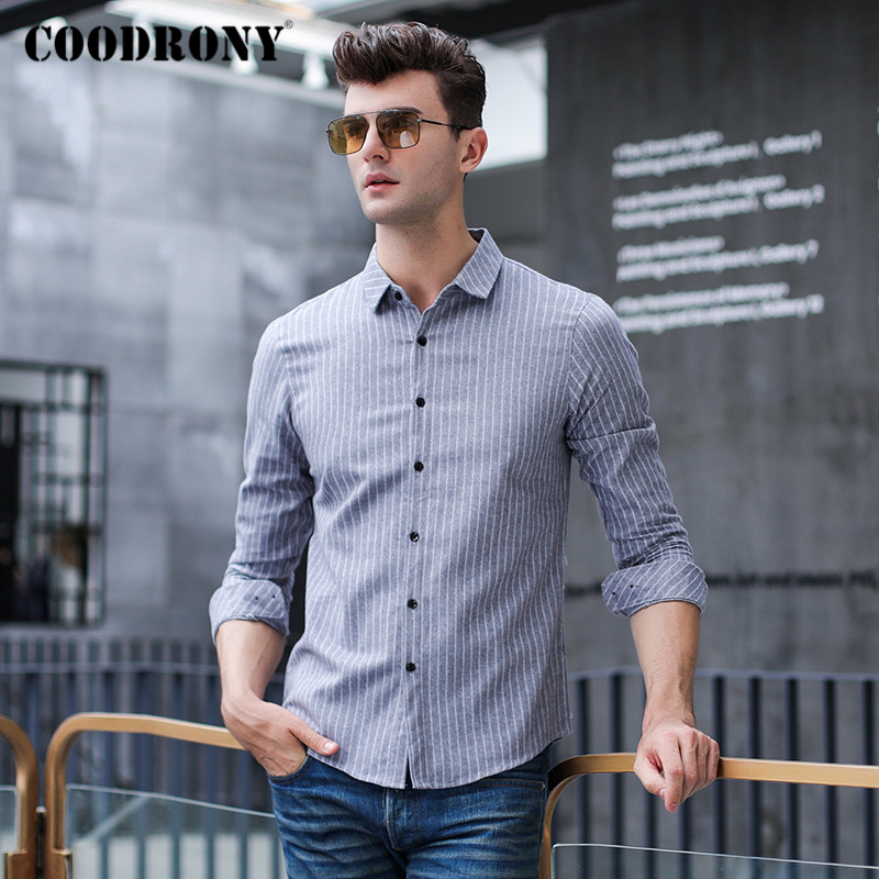 COODRONY Brand 100% Cotton Long Sleeve Shirt Men Spring Autumn Fashion Stripe Mens Shirts Business Casual Camisa Masculina C6005