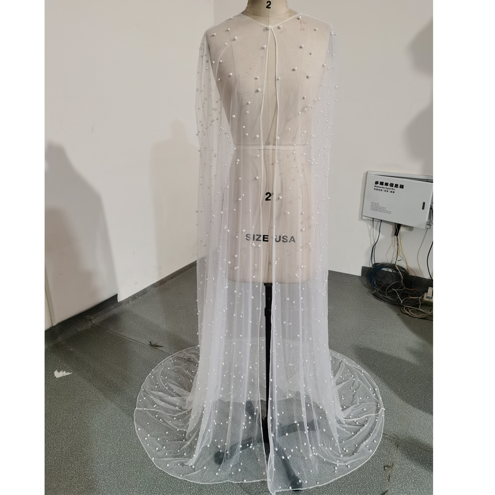 Pearls Long Wedding Wrap Tulle Party Shawl BOLERO Floor-Length Bridal Cape Elegant Wedding Jacket