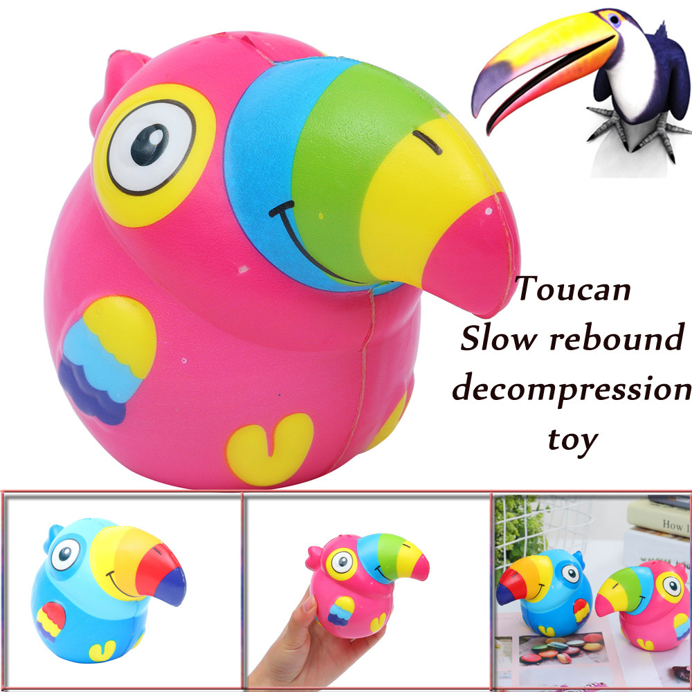 1PCS Squeeze Cute Toucan Scented Slow Rising Decompression Toys Squishy Stress Relief Toy Funny Kids&adults Toy