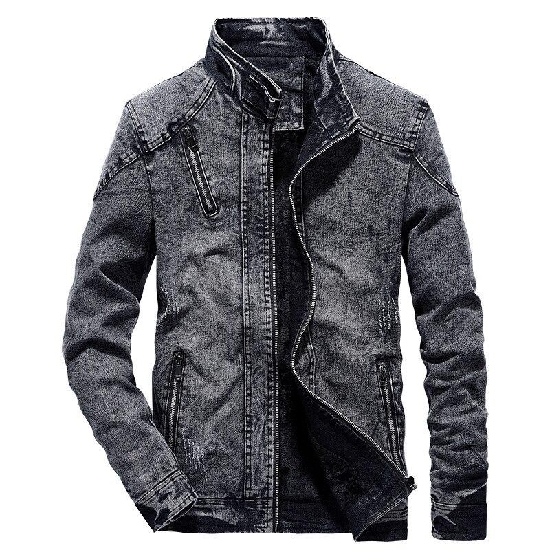 Vintage Denim Jackets Men Slim Fit Solid Color Casual Mens Jeans Coat Fashion Stand Clothes For Men Black Blue Casaca Hombre