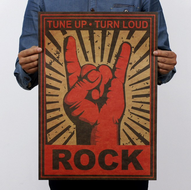 Keep On Rock Gesture Vintage Kraft Paper Classic Movie Poster School Decor Garage Wall Decor Art  Retro School Prints