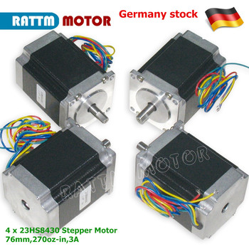 4Pcs Nema23 Stepper motor CNC 270 Oz-in/ 76mm /3A Embroidery for 3D Printer Router Machine 23HS8430 image