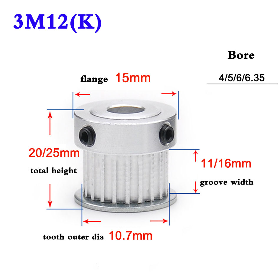 1Pcs 5M 10T Timing Belt Pulley Gear Sprocket 6mm Bore For 15mm Width Belt