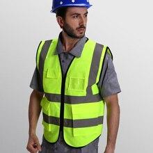 Высокая видимость светоотражающий жилет безопасности светоотражающий жилет Мульти Карманы Спецодежда Безопасности жилет с логотипом печать