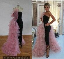 우아한 블랙 스트레이트 두바이 댄스 파티 드레스 2020 핑크 Tulle 긴 아랍어 이브닝 가운 계층화 된 프릴 공식적인 여성 공식 파티 드레스