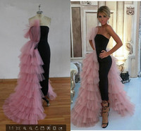 Elegant Black Straight Dubai Prom Dresses 2020 Pink Tulle Long Arabic Evening Gowns Tiered Ruffle Formal Women Formal Party Gown