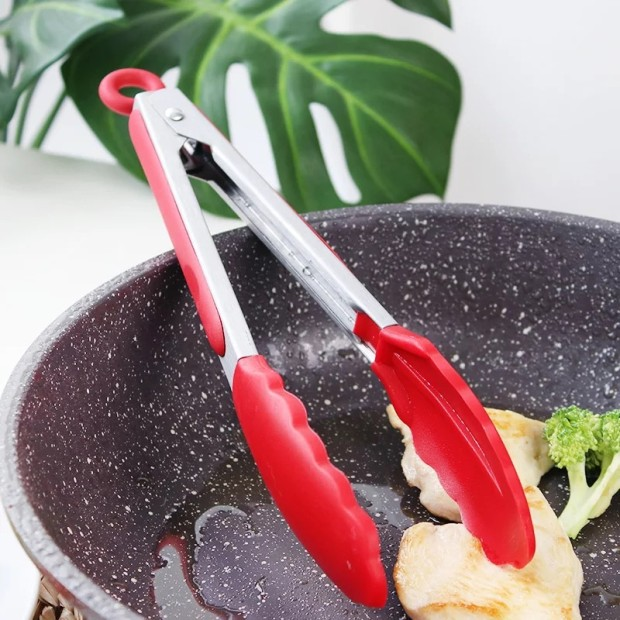 """8/"""" Silicone Mini Tongs Kitchen Food Cooking Non Stick Camping BBQ Tool Simple"""