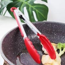 실리콘 식품 통 스테인레스 스틸 주방 집게 실리콘 미끄럼 방지 요리 클립 클램프 바베큐 샐러드 도구 주방 악세사리