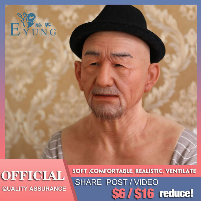 EYUNG Old William High Quality Realistic Silicone Mask-s, Old Man Masquerade For April Fool's Day Full Head Tricky M-ask props