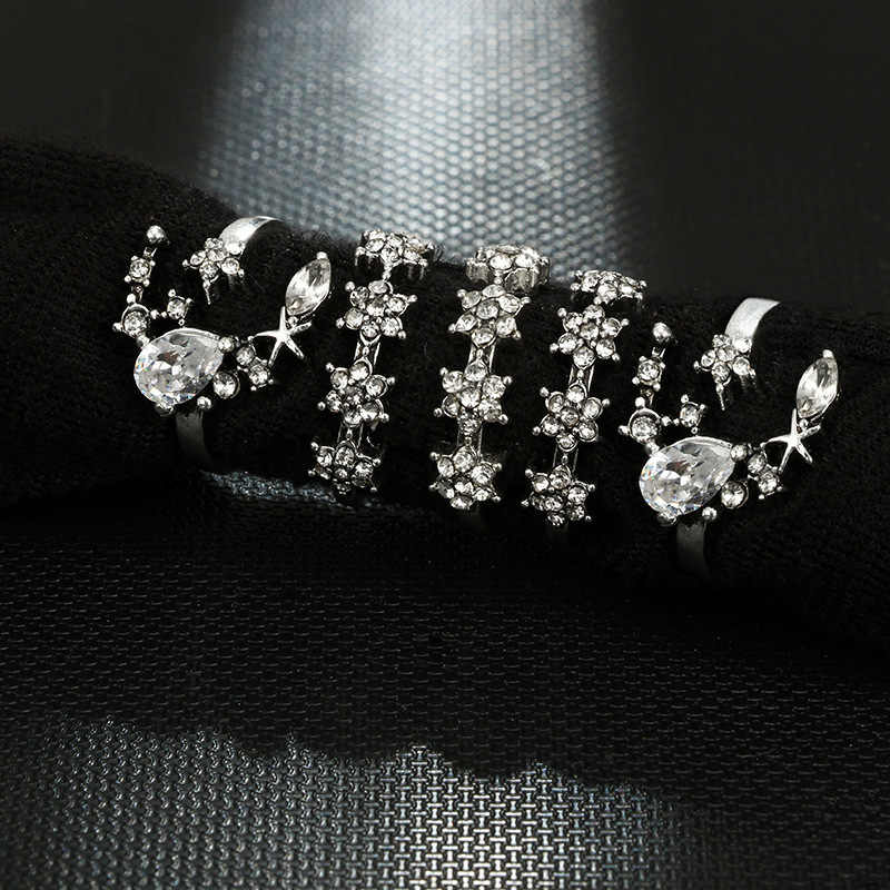 1 ชุดขายแฟชั่น Starry Night Shining VINTAGE Knuckle แหวนเรขาคณิตดอกไม้คริสตัลแหวนชุดเครื่องประดับ Bohemian 25 ชุด