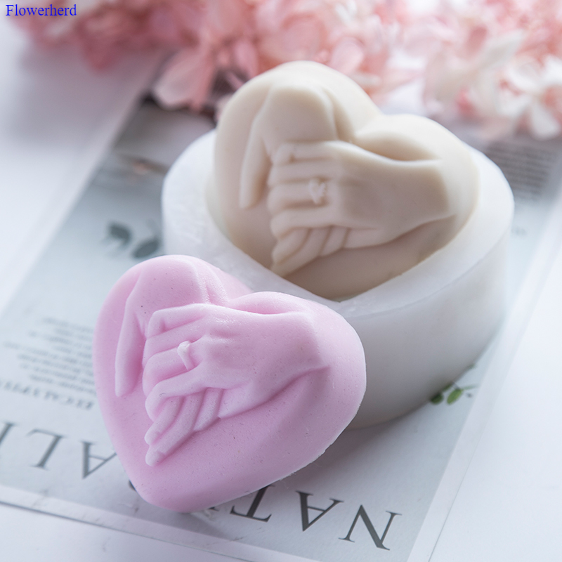 3d Heart Shape Hand In Hand Handmade Flexible Silicone Soap Mold Soap Stome Mold Soap Making Supplies Chocolate Mold Cake Decor