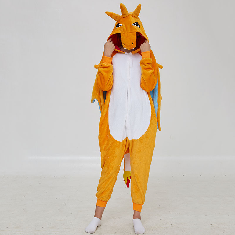 Kigurumis Women Pajama Animal Charmander Dragon Onepiece Adult Flannel Warm Sleepwear Party Cosplay Funny Homewear Costume