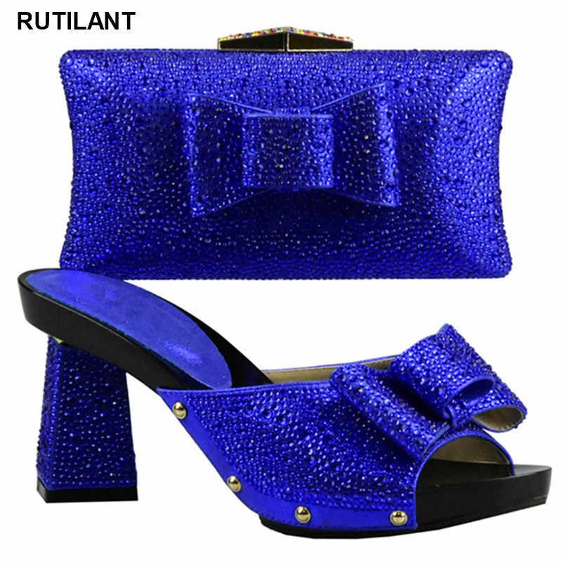 Scarpe di corrispondenza e Borsa Set Decorato con Strass Blu Royal Scarpe e Borsa Set per la Cerimonia Nuziale Delle Donne Scarpe e Borsa set per il Partito