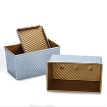 450g/750g/900g/1000g liga de alumínio ondinha dourada antiaderente revestimento torradas caixas pão pão pan bolo molde ferramenta de cozimento com tampa