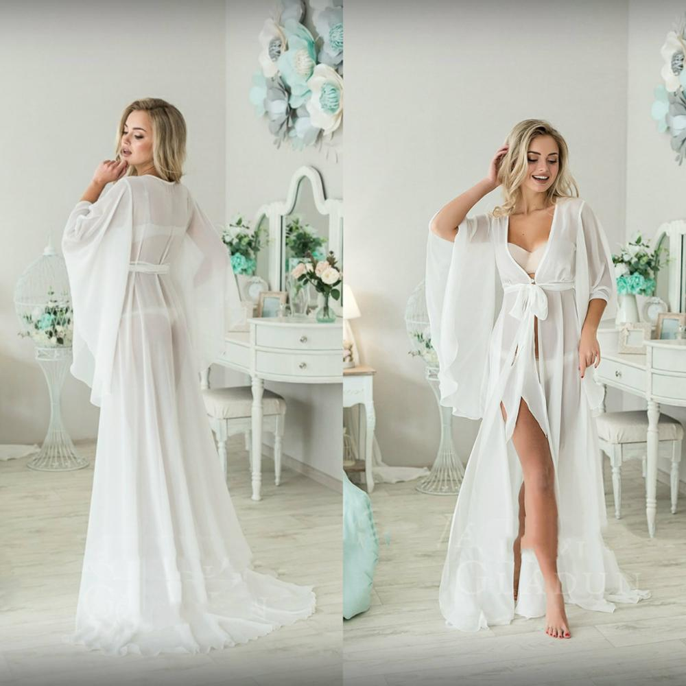 2019 Chiffon Long Sleeve Night Robe Custom Made Floor Length Sexy Bathrobes Women Sleepwear