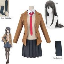 Traje sakurajima mai peruca cosplay seishun buta yarou série feminino uniformes escolares dia das bruxas meninas do ensino médio ternos de festa