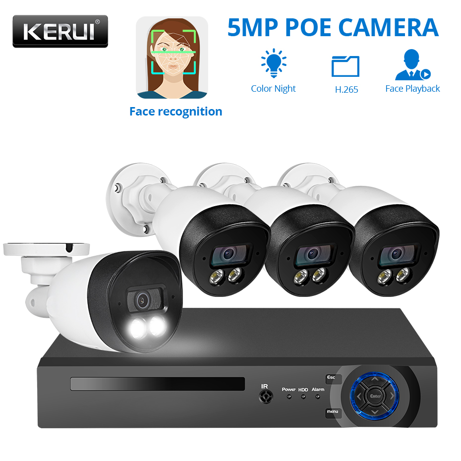 KERUI 5MP HD 4CH Face Record POE Kits H.265 CCTV Security System AI IP Camera Outdoor Waterproof Video Surveillance NVR Kits image