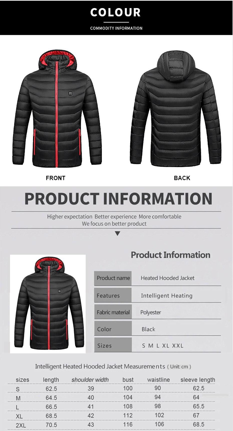 elétrica casaco de roupas térmicas para caminhadas jaqueta aquecida