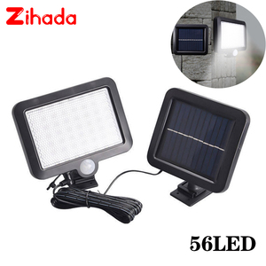 Image 1 - 56/100 LED LED שמש אור PIR תנועת חיישן שמש מנורת קיר חיצוני IP65 עמיד למים אינפרא אדום חיישן גן פטיו ספוט אור