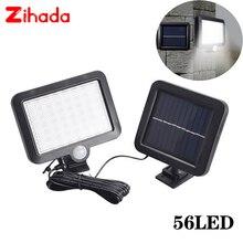 56/100 LED LED ضوء الشمس PIR محس حركة الشمسية الجدار مصباح في الهواء الطلق IP65 مقاوم للماء مستشعر الأشعة تحت الحمراء حديقة الباحة بقعة ضوء