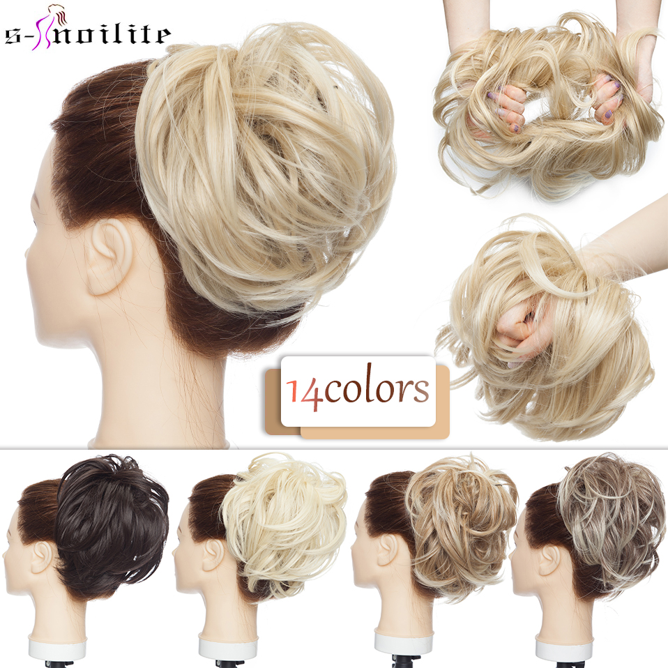 SNOILITE 80g Straight Donut Chignon Hairpieces Synthetic Ombre Elastic Updo Chignon Fluffy Messy Scrunchies Hair Bun For Women