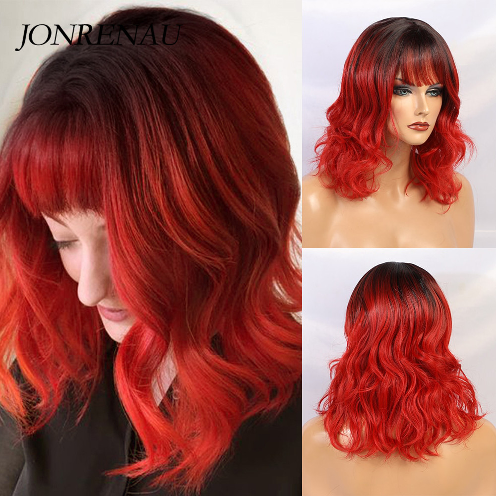 JONRENAU Short Natural Wave Hair Bob Wigs With Bangs Ombre Black To Wine Red Wigs For Black/White Women Party Costume