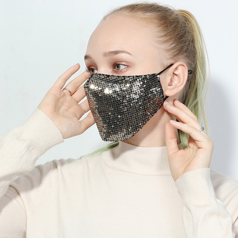 Unisex Masks Reusable Fashion Sequin Face Cover Masks Cotton Warm Anti-haze Shining Party Breathable Face Cover Mouth Mask