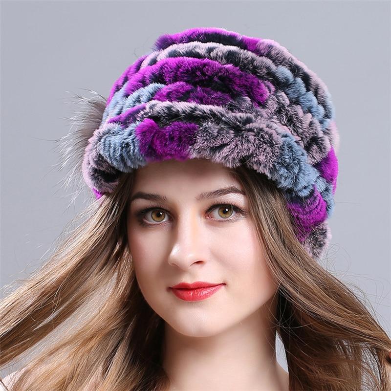 Зимние осенние теплые утепленные меховые шапки повседневные меховые женские русские козырьки шапочки вязаные шапочки Кролик меховой цветок полосатая женская шапка - Цвет: 6