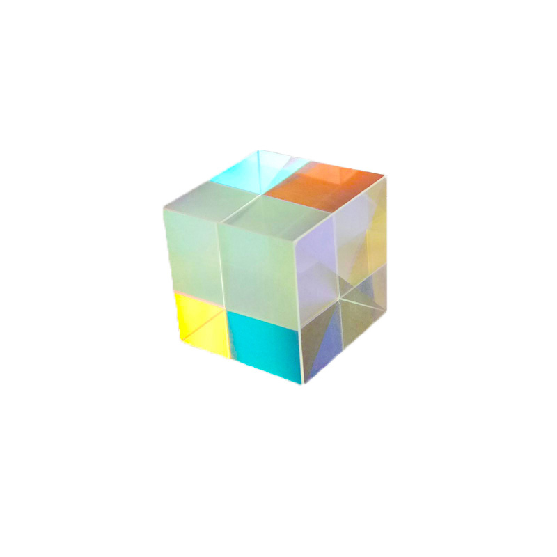 Optical Color Prism 20mm Six-sided Bright Light Ice Cube Beam Splitting Prisms K9 Glass Lens Teaching Experiment Tool Customized