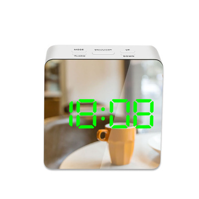 LED Mirror Alarm Clock Digital Snooze Table Clock Wake Up Light Electronic Large Time Temperature Display Home Decoration Clock 13
