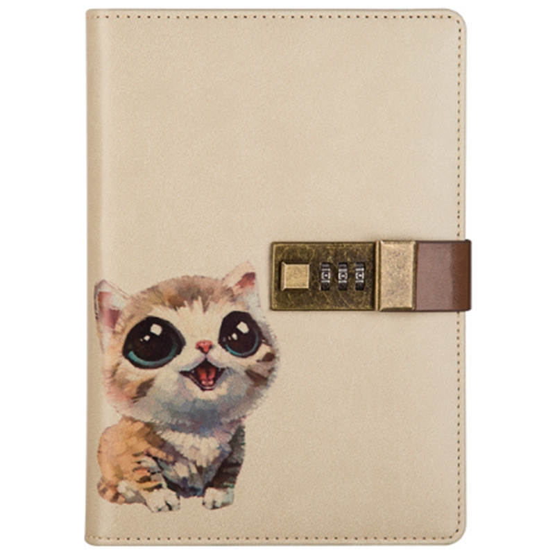 FFYY-B6 Cute Notepad Notebook Secret Diary Memos Planner Agenda Notebook Pu Leather Sketchbook With Lock Office School Student P