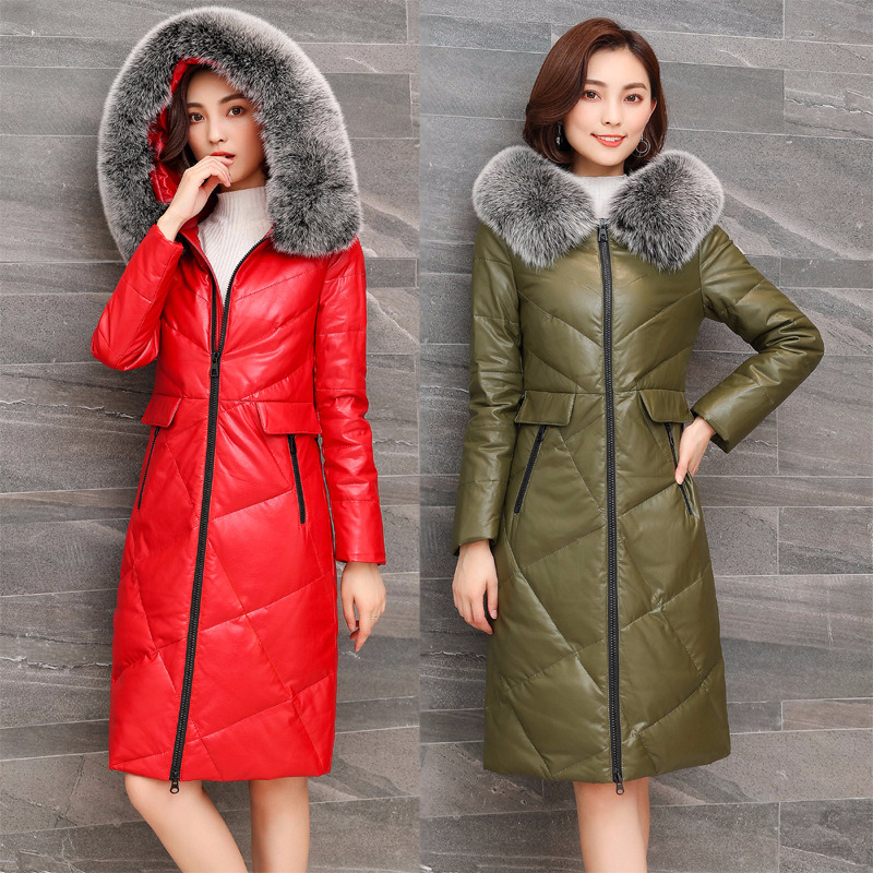 Jacket Women 2020 Winter Fox Fur Collar Duck Coat Womens Plus Size Sheepskin Genuine Leather Down Jackets X66 YY522