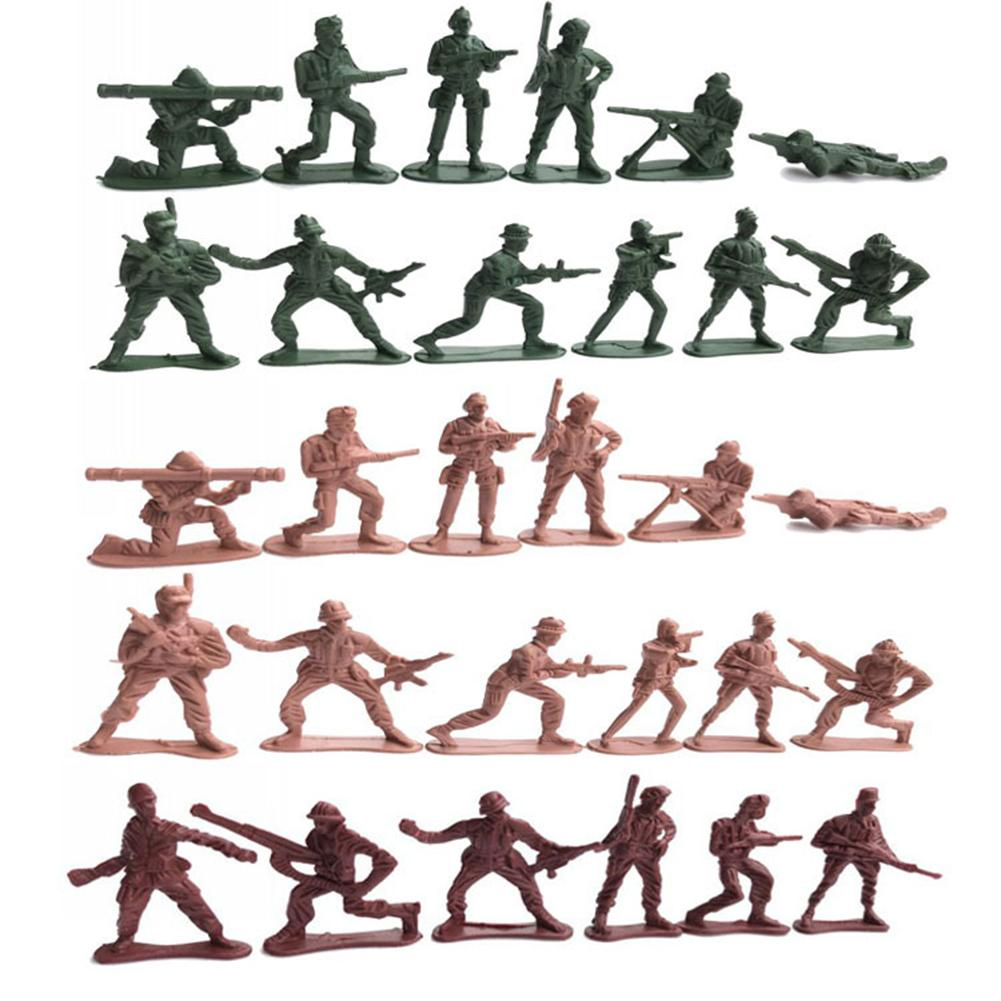 100Pcs Military Army Soldiers Action Figures Model Mini Wartime Scene Accessory Children Boys DIY Educational Toy Gift Kit