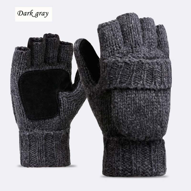 Unisex Plus Thick Male Fingerless Gloves Men Wool Winter Warm Exposed Finger Mittens Knitted Warm Flip Half Finger Gloves