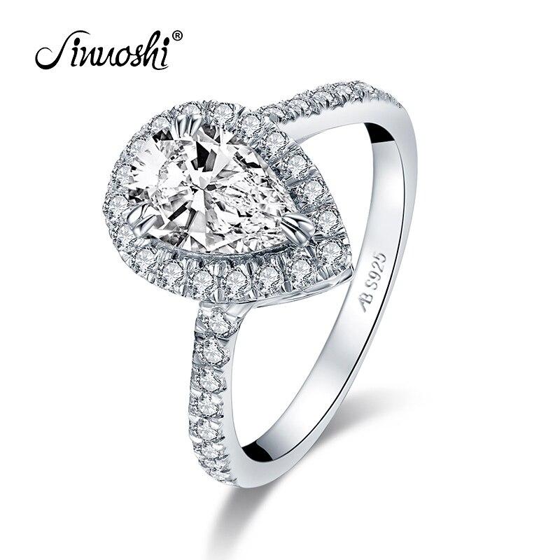 Simulado de Casamento do Diamante Anéis de Noivado de Halo Jóias de Prata Gota de Água Ainuoshi Sterling Silver Pear Cut Anéis 1.5ct 925