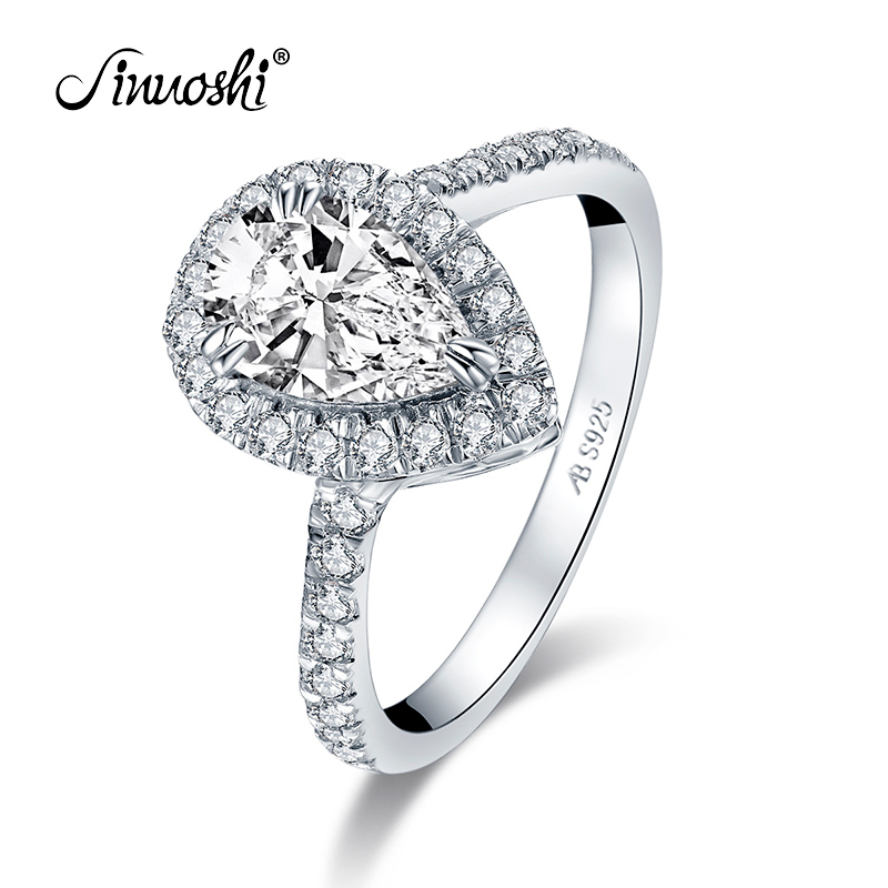 AINUOSHI 925 Sterling Silver 1.5CT Pear Cut Halo Rings Engagement Simulated Diamond Wedding Silver Water Drop Rings Jewelry